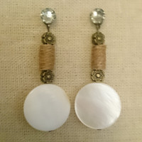 Natural shell metal flower twine wrapped bead Earring Charms, Swarovski Stud Earring Not Included