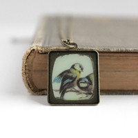 Small Antique Gold Bird Photo Pendant - Rustic Style Necklace - Handmade Jewelry - Ready to Ship