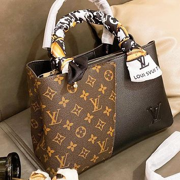 Hipgirls  LV Louis Vuitton New Hot-selling Patchwork Printed Letter Tote Bag Shoulder Bag with Scarf