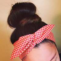 Orange and Beige Checkers Dolly Bow Headband