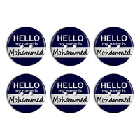 Mohammed Hello My Name Is Plastic Resin Button Set of 6