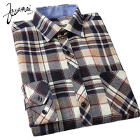 KUAMAI New Men Shirt High Quality Fashion Brand Clothing Casual Thick Warm Flannel Plaid Shirt Men Cultivating Camisa Masculina