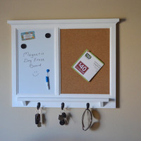 MAGNETIC White Board & Corkboard Organizer - Key / Coat / Hat rack - shabby chic - Home Decor - Furniture Quality