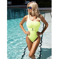 Neon Yellow One Shoulder Swimsuit