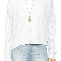 Girls Pointel Slouchy Button Front Cardigan