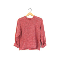 Nubby Knit Slouchy Cropped Sweater Simple Minimal Red Pullover Shirt Plain Long Sleeve Top Basic Oversized Sweater Vintage Large