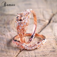 90% OFF ! Bamos Female Round Ring Set Luxury 18KT Rose Gold Filled Ring Vintage Wedding Band Promise Engagement Rings For Women