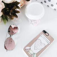 Foodie iPhone 7 & 7 Plus Case (I Like You A Latte / Macaroons Pattern) by Casetify