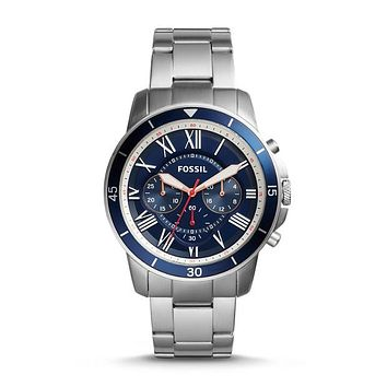 Grant Sport Chronograph Stainless Steel Watch, Blue   Fossil®