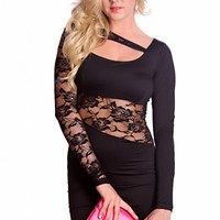 Black Long Sleeves Strap Over Back Floral Lace Stylish Dress @ Amiclubwear sexy dresses,sexy dress,prom dress,summer dress,spring dress,prom gowns,teens dresses,sexy party wear,women's cocktail dresses,ball dresses,sun dresses,trendy dresses,sweater dress