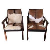 Pre-owned Cowhide and Leather Armchairs - A Pair