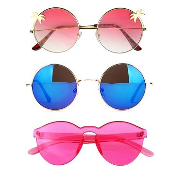 Bundle Of Sunglasses In A Bundle 3 Pairs Of Round Womens Festival Sunglasses E08