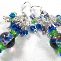 Multicolor Cluster Earrings , Lampwork Earrings, Gifts, Fashion Jewelry, Party Wear, Gifts, Mother's Day, Valentine Day