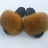 Honey mustard fox fur slides mustard yellow fur slides fox fur slippers