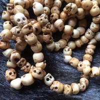 Bone Skull Beads, Antiqued, Carved, Large Hole, 100 Beads, Day of the Dead, Halloween, Rocker, Goth, Beading, Jewelry Making, Crafting