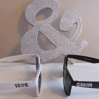Set of bride and groom Blues Brothers style/Wayfarer sunglasses Mr and Mrs for wedding or honeymoon or gift for the newlywed couple