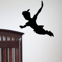 Flying Peter Pan Disney Silhouette Fantasy Fairytale Sticker Graphic Wall Decals Nursery Decal For Kids Q024