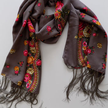 Russian scarf stone brown scarf floral scarf winter head scarf fringe shawl women scarves gift for her