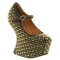 Jeffrey Campbell PRICKLY BLACK LEATHER GOLD SPIKE Shoes - Womens High Heels Shoes - Office Shoes