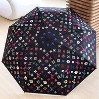 Louis Vuitton Fashion New Men's and Women's Color Printed Letters High-end Automatic Umbrella Sun Umbrella