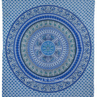 White  Blue Indian Mandala Hippie Beach Throw Tapestry Bedspread on RoyalFurnish.com