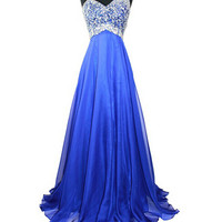 Royal Blue Beaded One Shoulder Long Prom Party Dresses