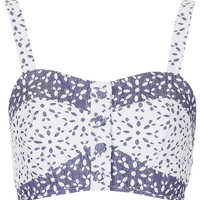 Contrast Floral Button Bralet - Railroad - Clothing - Topshop USA