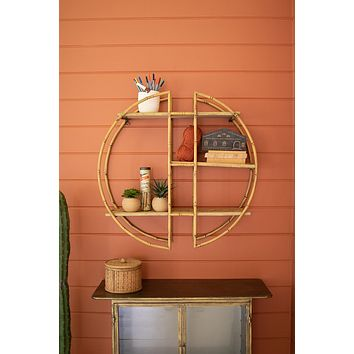 Round Metal And Faux Bamboo Wall Shelf