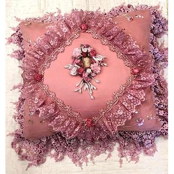 Romantic Victorian Pink Cameo Lace Rose Adorned Square Pillow