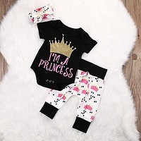 3pcs crown baby clothes set Infant Toddler Kids Baby Girls Crown short sleeve Rompers+Pants Leggings Outfits Set