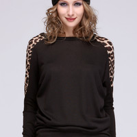 Fashion Women Batwing Dolman Long Sleeve Leopard Print Round Neck Knitted Loose Casual Pullover Jumper Tops Shirt Blouse_T-shirt_Women's Tops_Women_The Latest Trends & Fashion Clothing For Women Online Store-www.dressin.com