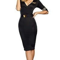 Flight Path Black Gold Elbow Sleeve Plunge V Neck Bodycon Pilot Midi Dress Costume