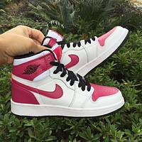 "Air Jordan 1 GS ""Spirit Fuchsia"" Women Sneaker Girl Basketball Shoes"