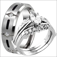Titanium & 925 Sterling Silver Marquise Cut CZ Engagement Wedding Band Ring Set