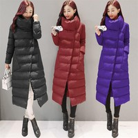 SVESIA Women's Parkas Elegant Stand Collar Asymmetry Long Winter Warm Female Jackets Cotton Parka Outerwear Coats