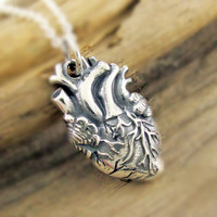Anatomical Heart Necklace, Sterling Silver Heart Necklace, Anatomically Correct Heart Pendant