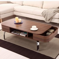 Enitial Lab Luxer Coffee Table with Drawers, Walnut