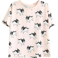 Pink Animal Print Short Sleeve Shirt