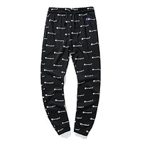 Champion Trending Men Women Stylish Full Logo Print Drawstring Sport Stretch Pants Trousers Sweatpants Black I-CP-ZDL-YXC