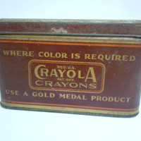 Vintage Crayola Tin   Antique Crayola Artista Anti Dust Container   Binney Smith Gold Medal Collectible Metal Tin Canister   Rustic Patina