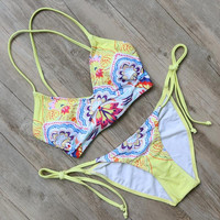 Yellow Bandage Swimsuit Push Up Bikini Set Bathing Suit Beachwear