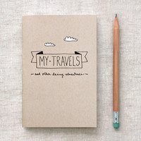Travel Journal & Pencil Set - Brown Recycled Handcrafted, Pocket Size by HappyDappyBits