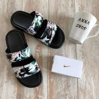 Nike Benassi Duo Tra Slide Camouflage Beach Sandals Double Buckle Shoes