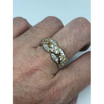 Vintage white Sapphire Crystal Gothic Golden Sterling Silver ring