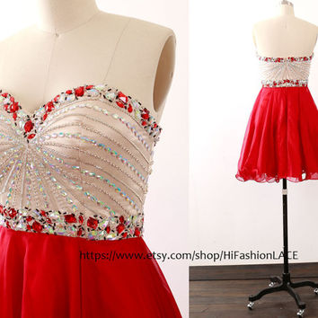 Red Mini Prom Dress, Strapless Chiffon Homecoming Dress, Mini Chiffon Fuchsia Formal Dress, Wedding Party Dress
