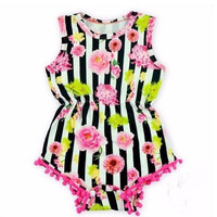 Stripes and Flowers-Pom Pom Baby romper