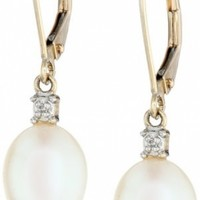 10k Yellow Gold Freshwater Cultured Pearl Earrings @ Jewelry Wonder