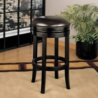 """Backless Swivel Barstool In Brown Bonded Leather 26"""""""