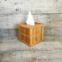 Tissue Box Cover Tissue Box Holder Mid Century Bamboo Tissue Box Cover Vintage Bathroom Bamboo Tissue Cover Mid Century Bathroom Decor