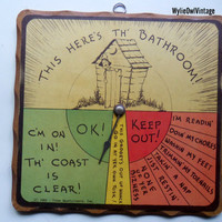 Vintage Three Mountaineers Bathroom Sign 1943 by WylieOwlVintage